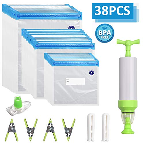 Kit de bolsas Sous Vide, 30 bolsas selladas al vacío reutilizables sin BPA